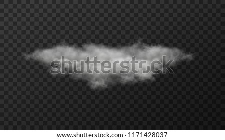 Vector illustration of white cloud on transparent background