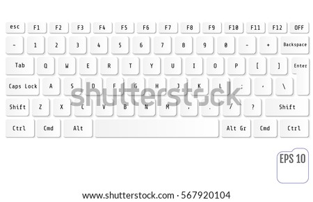 Vector illustration of white modern laptop keyboard
