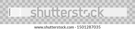 Vector illustration of white or gray cheap empty paper bracelet or wristband. Sticky hand entrance event paper bracelet isolated on a transparent background. Template suitable for identification.