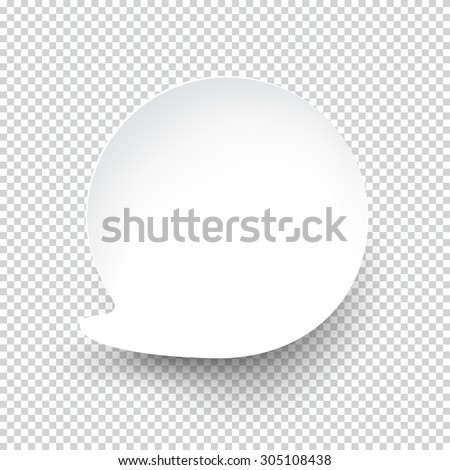 Vector illustration of white paper round speech bubble with shadow. Eps10. #305108438