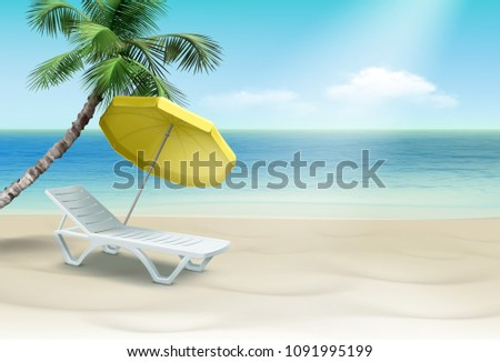 Vector illustration of white plastic lounger under yellow beach umbrella with palm. Isolated on landscape background