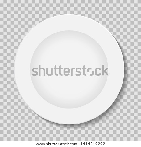 vector illustration of white plate on plaid background