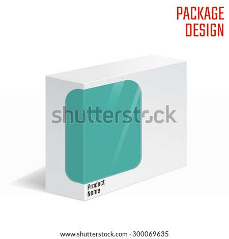 Vector Illustration of White Product Cardboard Package Box With �¡lear Windows for Design, Website, Banner. Mockup Element Template for Your Brand or Product. Isolated on White Background