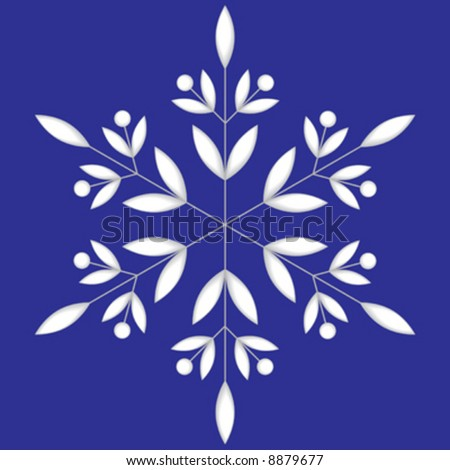 white snowflake background. stock vector : Vector illustration of white snowflake on blue ackground.