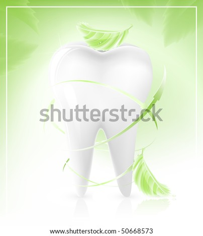 Vector illustration of white tooth. Background contains elements with the effect of transparency. EPS10.