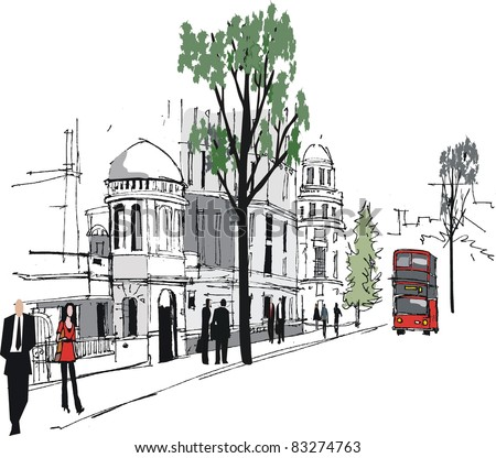 Vector illustration of Whitehall, London with red bus.