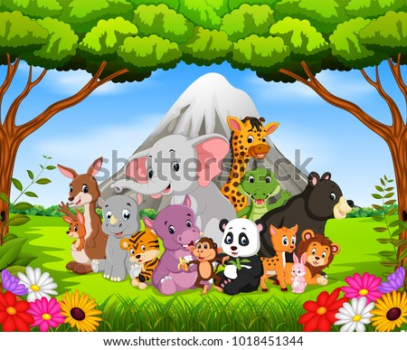 vector illustration of wild animal in the jungle