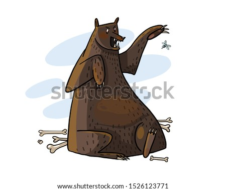vector illustration of wild bear, dangerous animal, glutton, comic and postcard for vector editing.