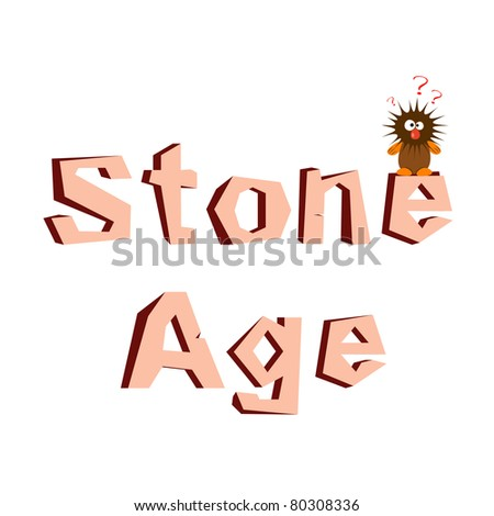 """Vector illustration of wild man and """"Stone Age"""" title"""
