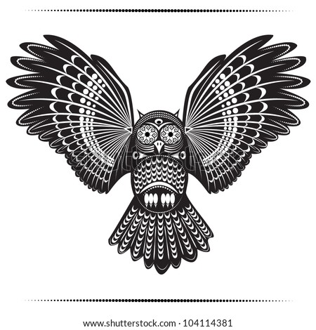 Vector illustration of wild totem animal Owl