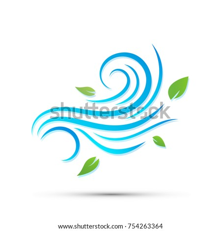 Vector illustration of wind icon isolated on white.