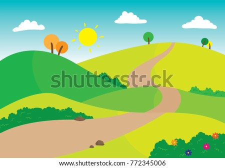 Vector illustration of winding road against a lush and green mountain background with blue skies