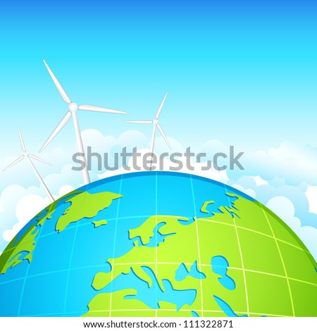 vector illustration of windmill on earth showing ecofriendly energy