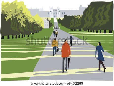 Vector illustration of Windsor Great Park, London England. - stock vector