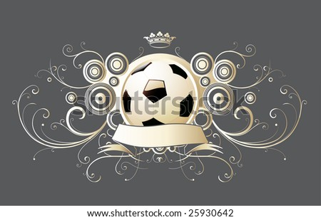 Vector illustration of winged soccer emblem with crown and banner.