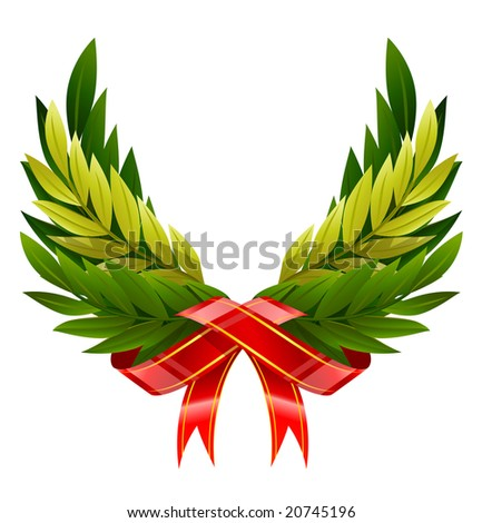 vector illustration of wings wreath from green leafs isolated