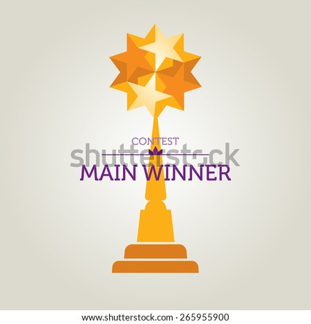 Vector Illustration Of Winner Statuette Ready To Print And Web-Usage