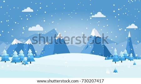 Vector illustration of winter landscape with pines and snowflakes