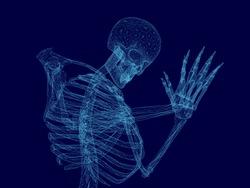 Vector illustration of wireframe human skeleton that prays. Blue polygonal human skeleton. 3D. Vector illustration.