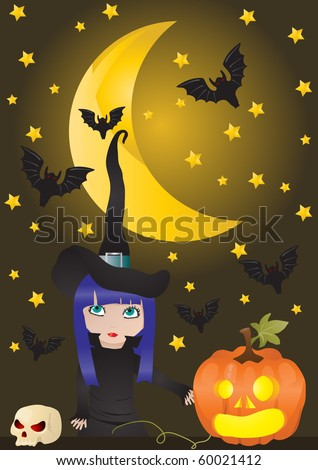 Stock Photo Vector illustration of witch and pumpkin on the background of moon with bats