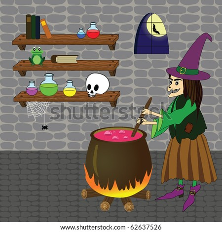 Vector illustration of witch boiling poison in cauldron in a castle room with shelves, skull, bottles, books, spider, frog