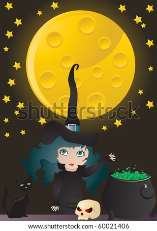 Stock Photo Vector illustration of witch cooking her potion