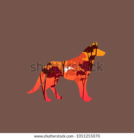vector illustration of wolf and