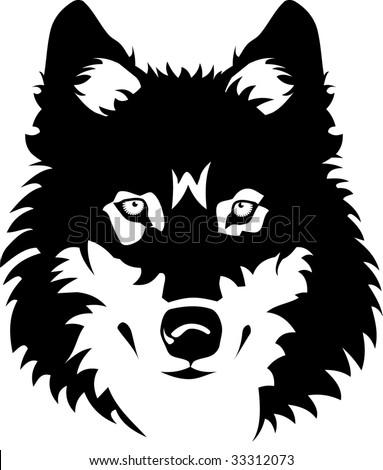 stock vector : Vector illustration of wolf face black and white tattoo