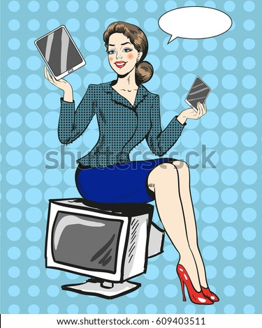stock-vector-vector-illustration-of-woman-advertising-gadgets-young-lady-sitting-on-tv-set-and-holding-tablet