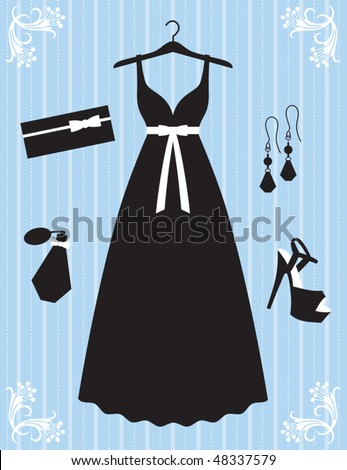 Vector illustration of woman dress and accessories.