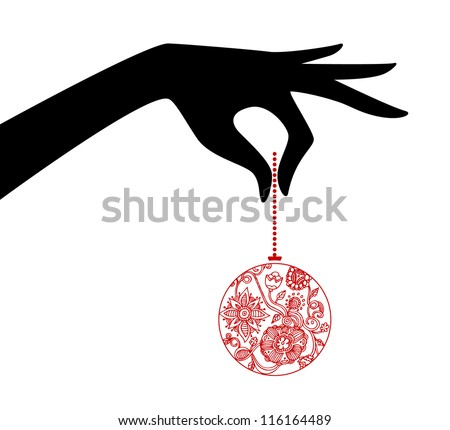 Vector illustration of Woman hand holding xmas ball