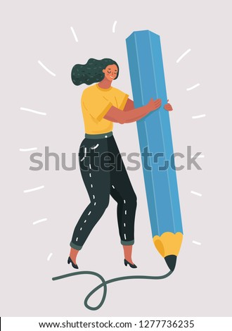 Vector illustration of woman hold big pencil and drawingg. Hand writing prosess. Creative girl. Human character on white isolated background.