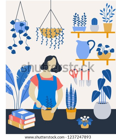vector illustration of woman planting flowers