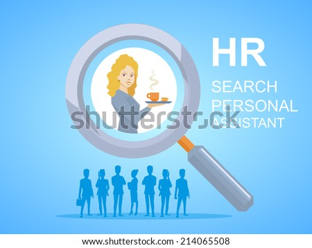 Vector illustration of woman portrait personal assistant with coffee in hand seen through a magnifier on blue background with silhouettes of business people