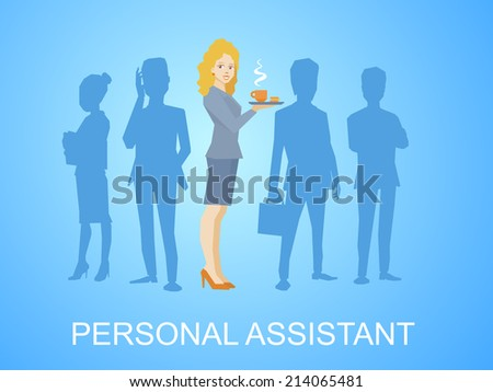 Vector illustration of woman portrait secretary with coffee in hand stands in the center on blue background of silhouette business team of businesspeople