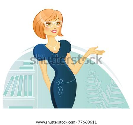 Vector illustration of Woman Presentation