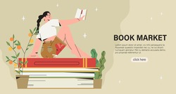 Vector illustration of woman sitting on  pile of books and reading. Creative banner, poster, invitation for book crossing, exchange, marker, fair or online library. World literacy or reading day.