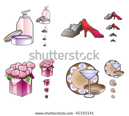 Vector Illustration of woman stuff icons in a different size. The icons look great even in a small resolution. Ideal for web shops and e-commerce.