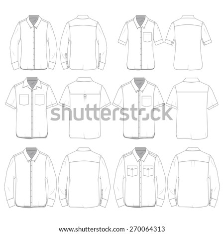 Vector Illustration of Women and Men's Button Down Shirts.