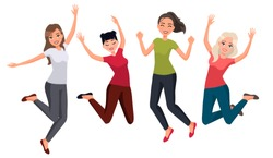 Vector illustration of women in different poses. Cartoon realistic people.Flat young woman.Front view.Happy group of people jumping on a white background. Women in casual clothes. Healthy lifestyle.