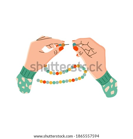 Vector illustration of women's hands with beads and stringing on a string. The manufacture of beads. Hands of a needlewoman in a flat design. Creative hobby. Isolated on a white background.