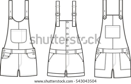 9ba010d9f250 Vector illustration of women s jean overall shorts. Clothes in denim style