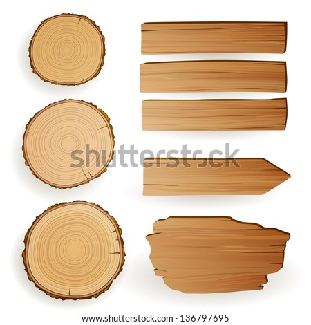 Vector Illustration of Wood Material Elements