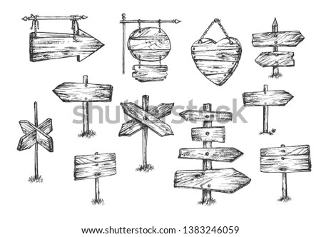 Vector illustration of wooden pointers and plaques set. Different shapes and sizes signboards such as arrow, circle, direction, board for information and advertising. Vintage hand drawn style.