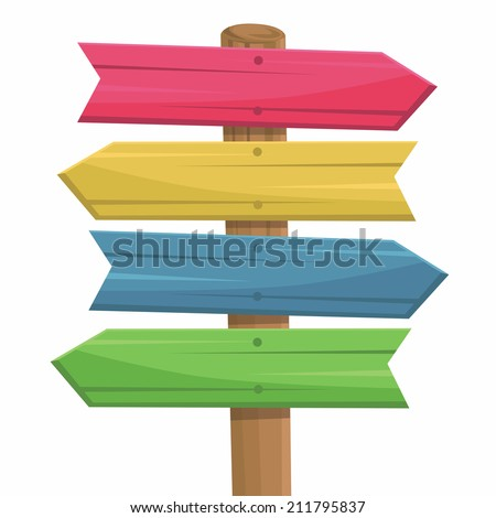 Vector illustration of wooden route sign color