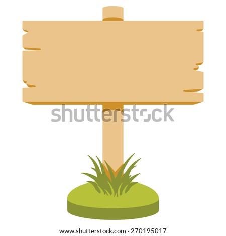 Vector illustration of wooden signboard. Cartoon style. Isolated on white.
