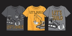 Vector illustration of work machine. Graphic design for boy t shirts