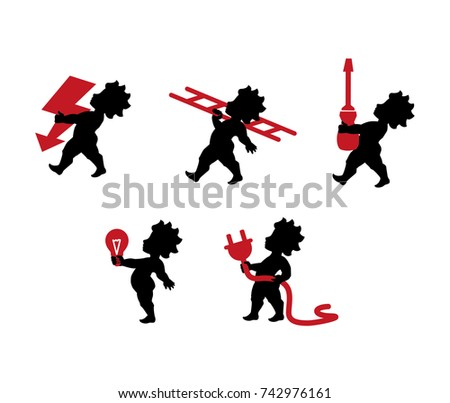 Vector Illustration Of Workers Craftsmen Electrician Such Cupid With Electrical Tools Icons Set