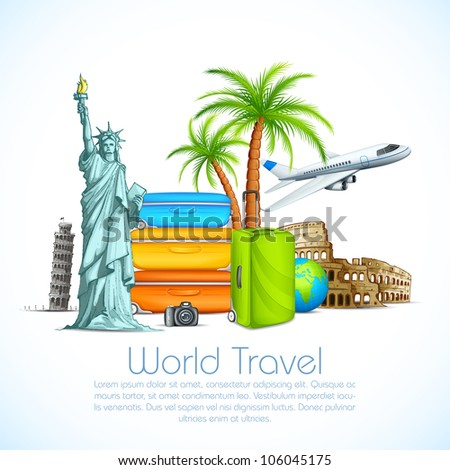 vector illustration of world famous monument with luggage and airplane