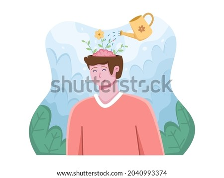 Vector illustration of World mental health day on 10 October with relaxing people. Clear your Mind. Positive Thinking. Can be used for banner, post card, greeting card, poster, social media. ストックフォト ©